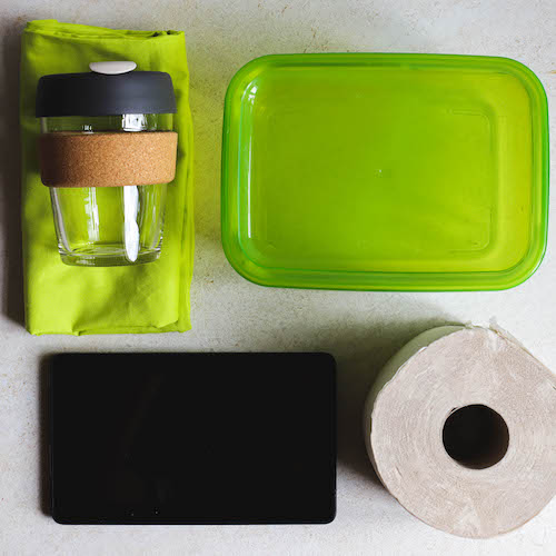 Utensilien um den Papierverbrauch zu reduzieren wiederverwendbar