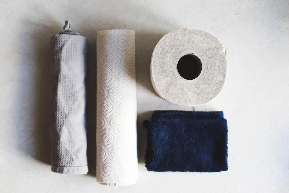 Papierverbauch im Haushalt reduzieren durch recyceltes Papier und Tücher aus Baumwolle