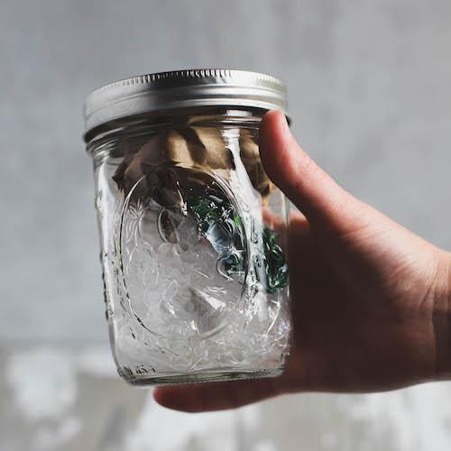 Müll eines Jahres in EInmachglas
