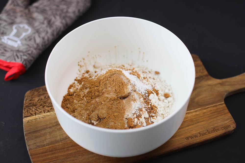 Zutaten für Teig von veganen Kürbiscupcakes