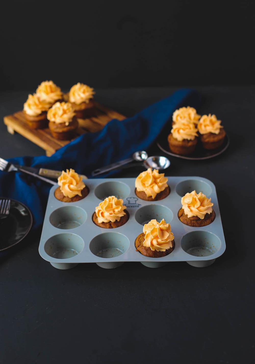 vegane Kürbiscupcakes in Silikonform von Backefix