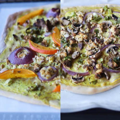 fertiger veganer Flammkuchen auf Backmatte von Backefix