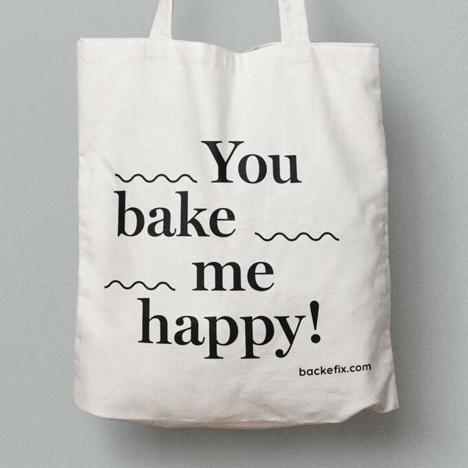 vergrößert Baumwolltasche Motiv You bake me happy