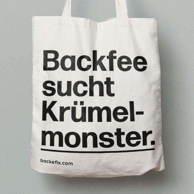 Detail Baumwolltasche Motiv Backfee sucht Krümelmonster.