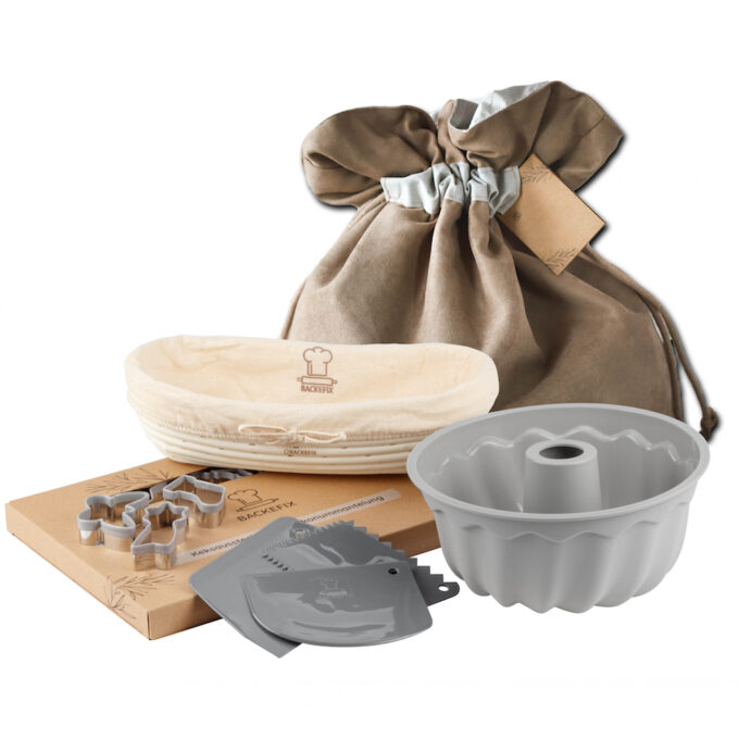 Backefix Geschenkbeutel mit nachhaltigen Backutensilien